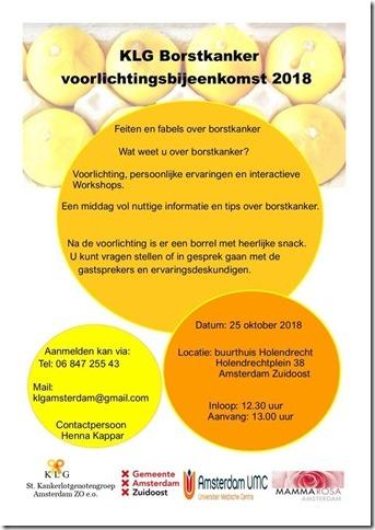 Informatiebijeenkomst Borstkanker op 25 oktober
